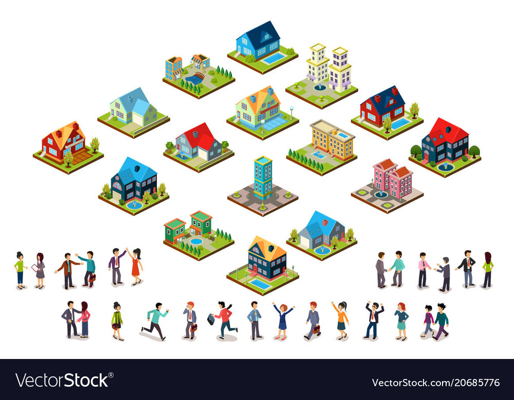 Set of urban isometric houses and groups of