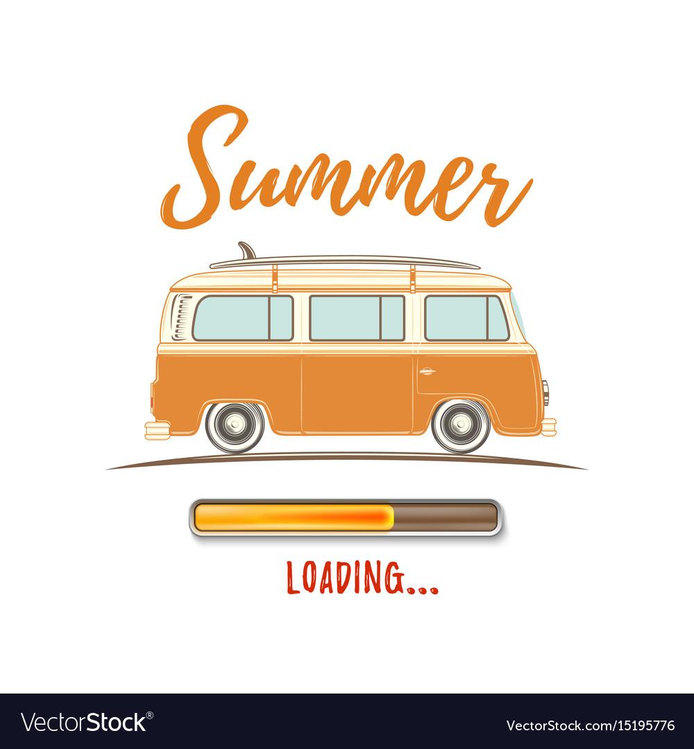 Summer loading vintage retro camper van