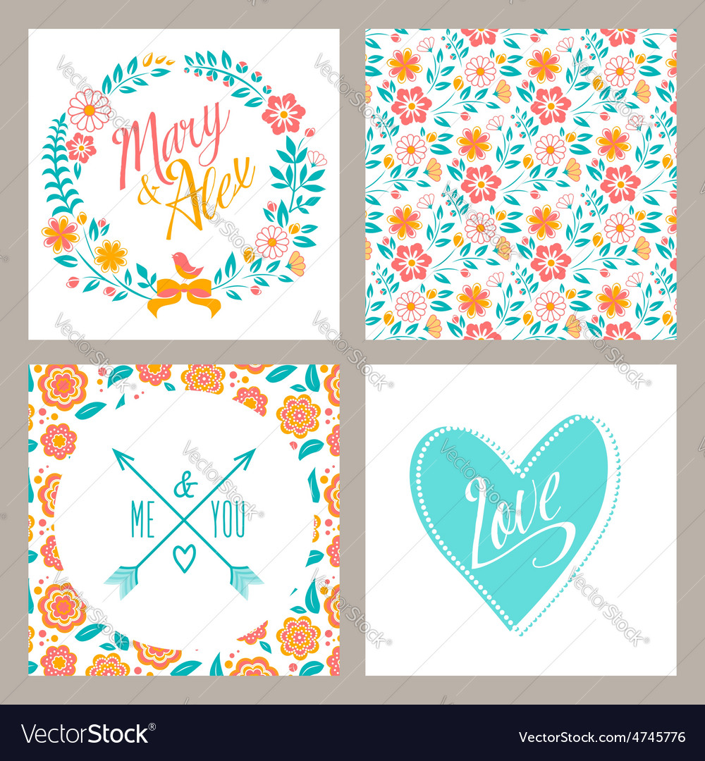 Wedding set of invitation cards with flowers and