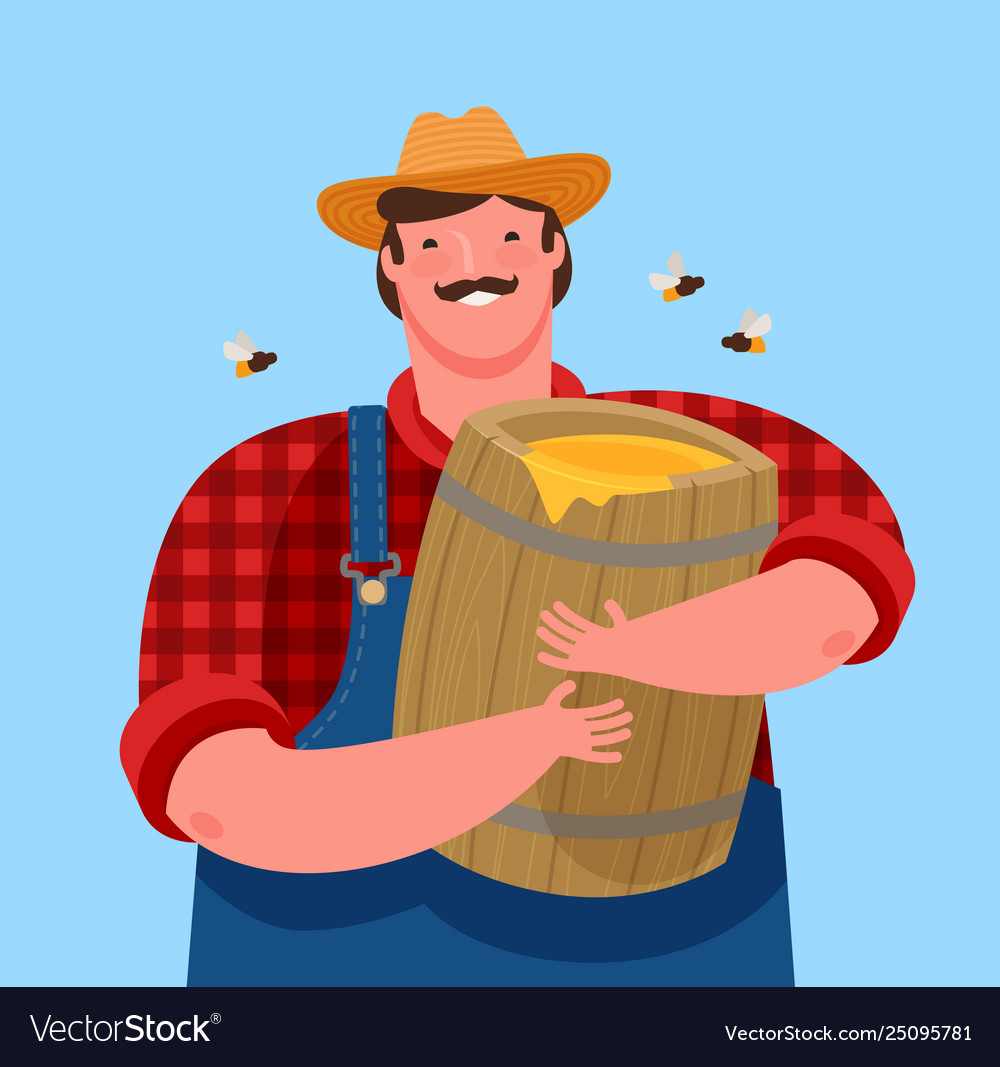 Beekeeper is holding a wooden keg with honey