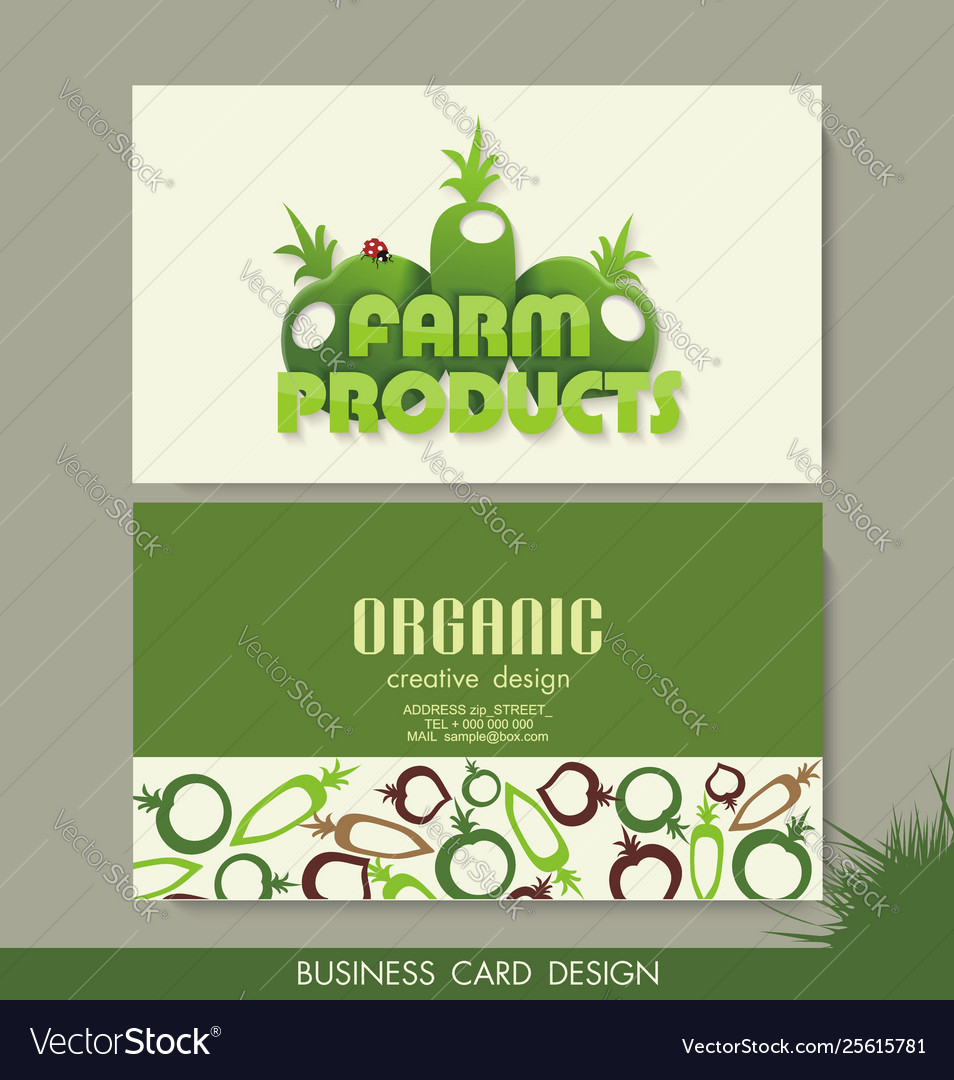 Card set eco design organic foods shop or vegan