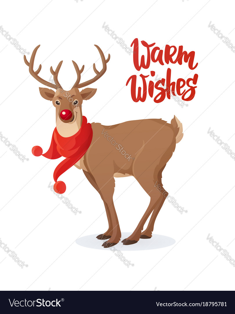 Christmas Card Cartoon Rudolph Red Nose Reindeer