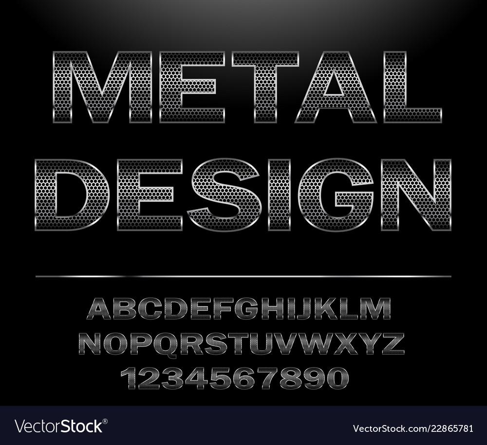 Chrome steel grid font design for typography