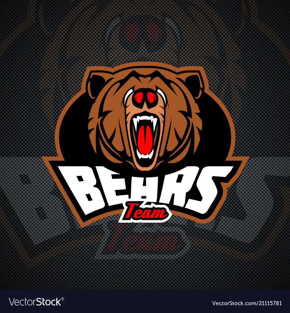 Evil and dangerous bear logo template for sports