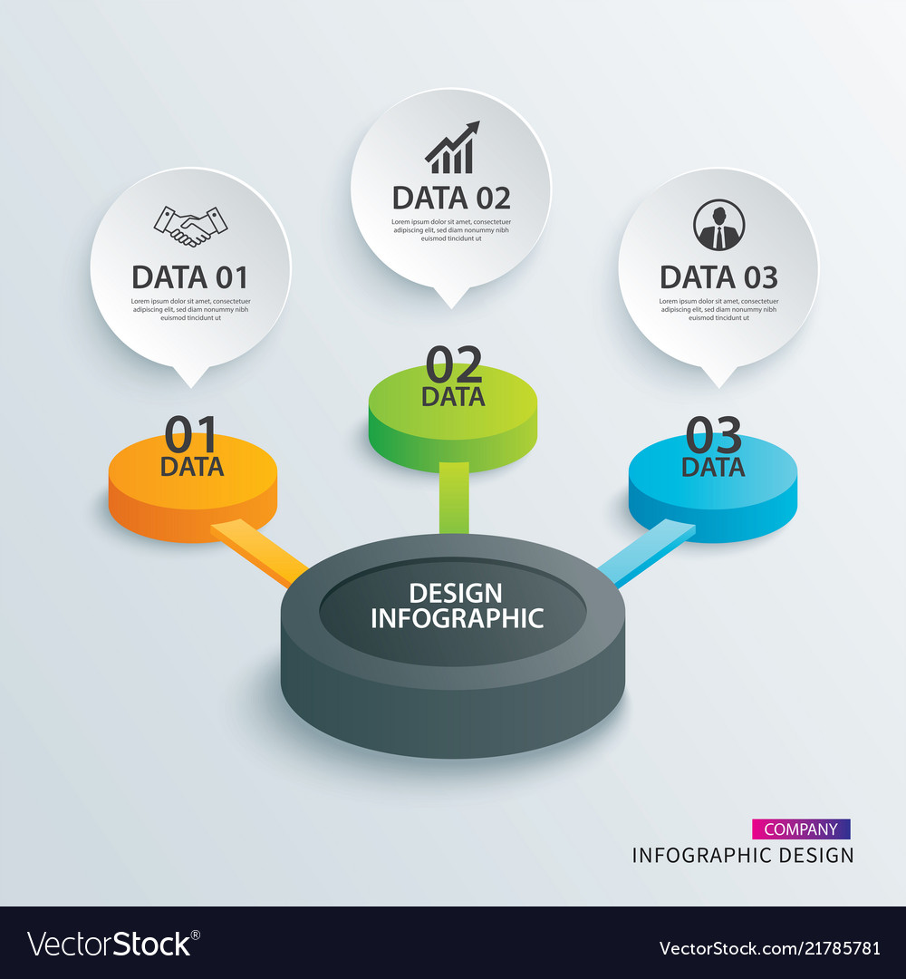 Infographics circle paper with 3 data template