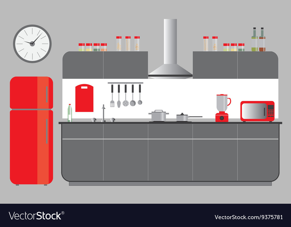 Kitchen Elevation with Cabinets Fridge Hood vector image