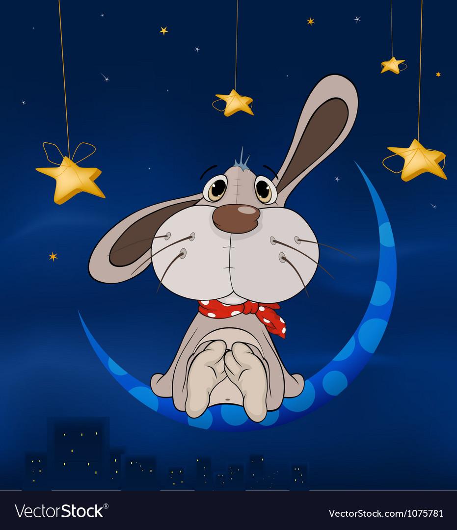 Rabbit on the moon vector image