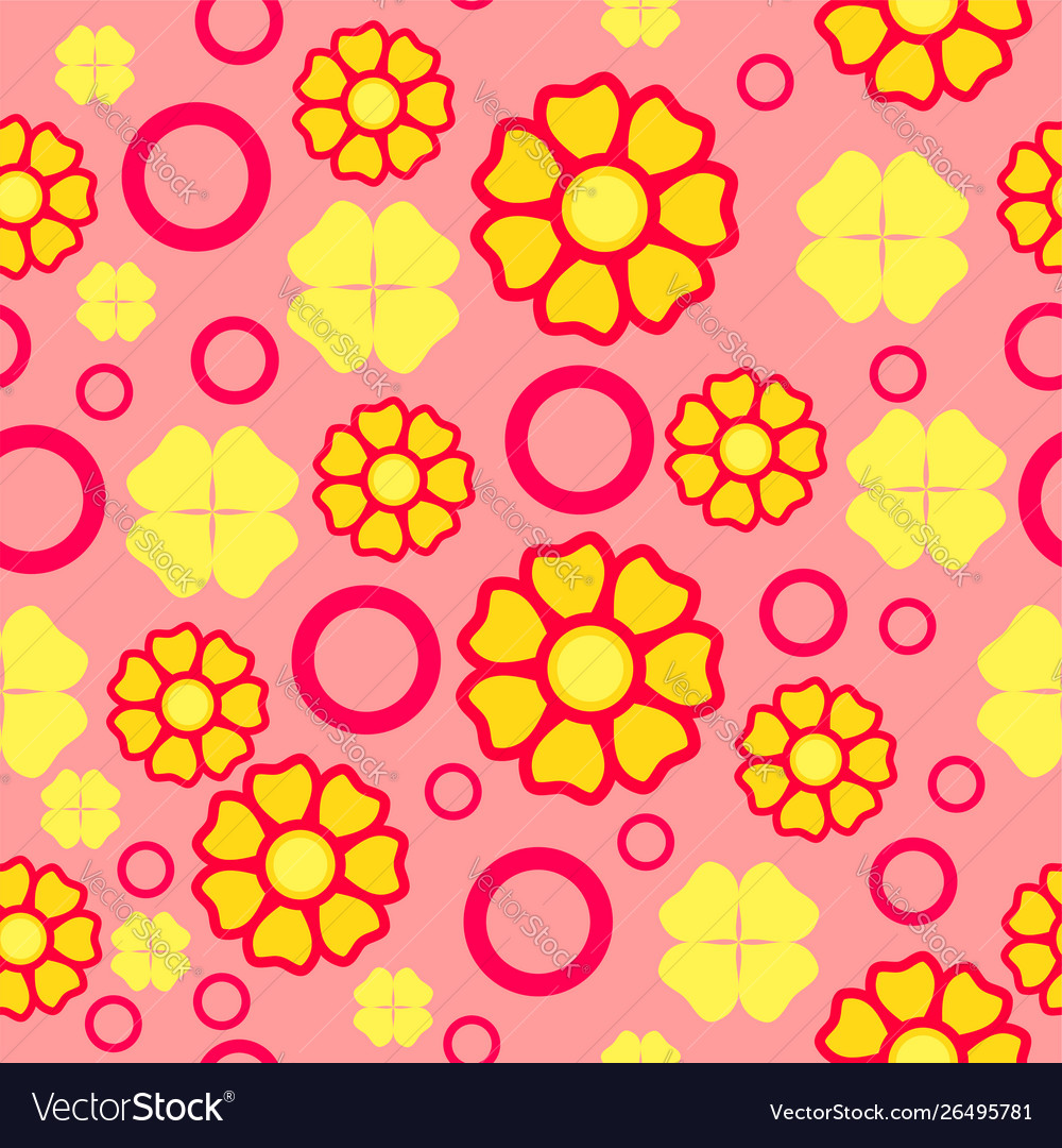 Seamless geometric pattern red with yellow