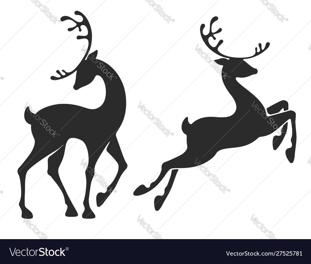 Standing deer and jumping deer