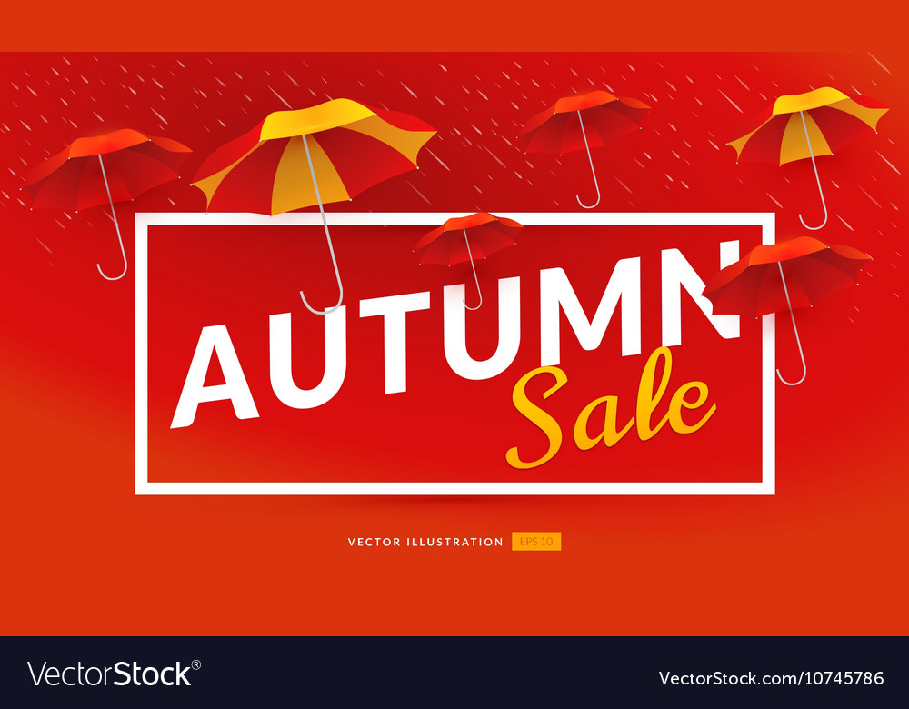Autumn sale poster template with umbrellas