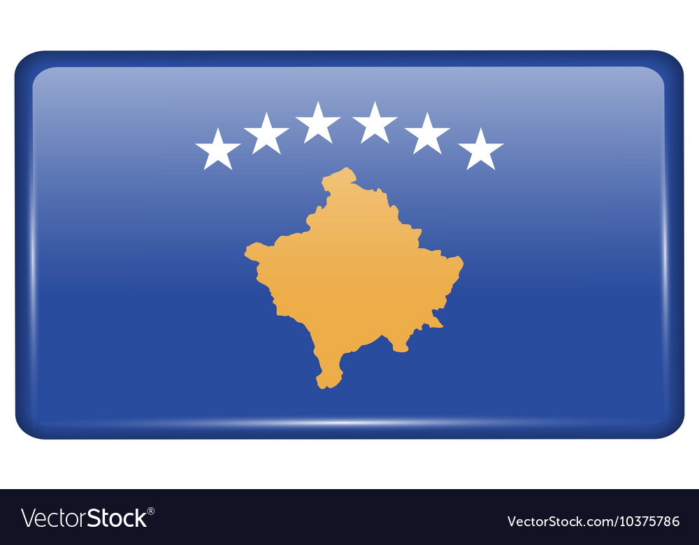 Flags Kosovo in the form of a magnet on vector image