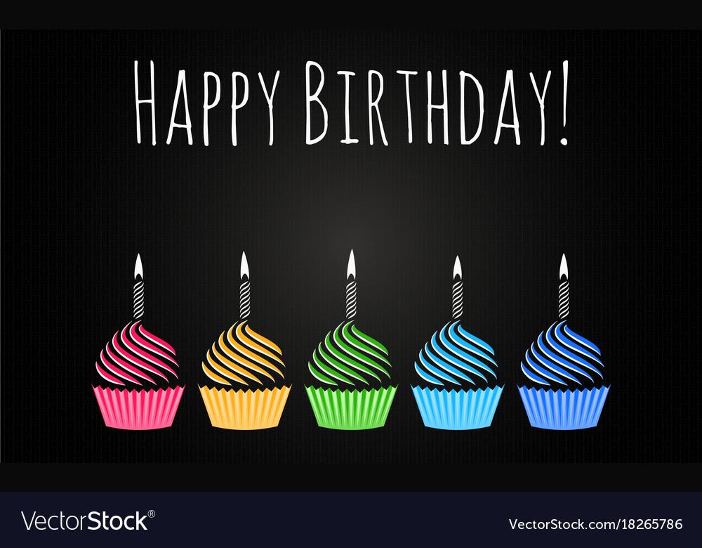 Happy birthday cupcakes design background