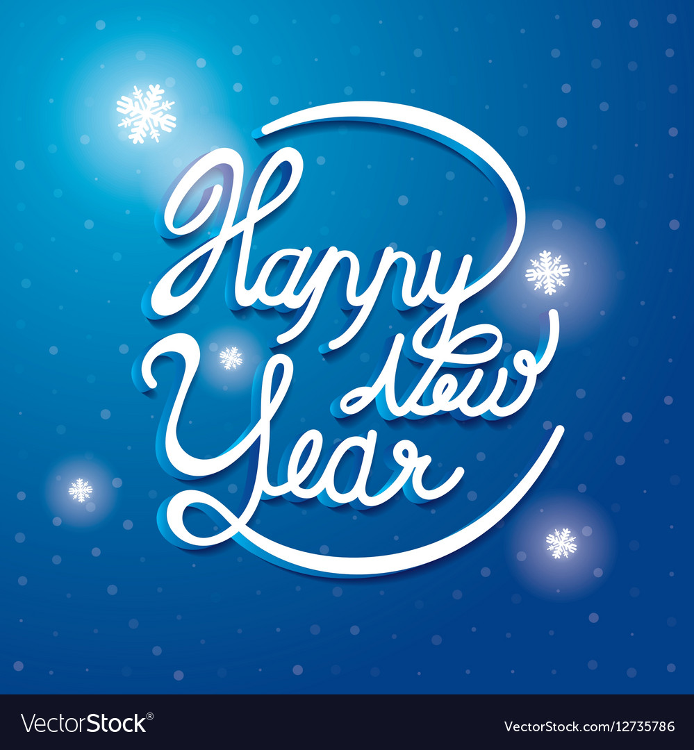 Happy New Year Font on blue and white snow