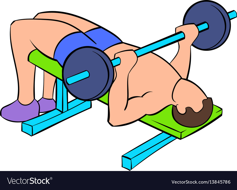 Remarkable Men Training On The Bench Press Icon Cartoon Pdpeps Interior Chair Design Pdpepsorg