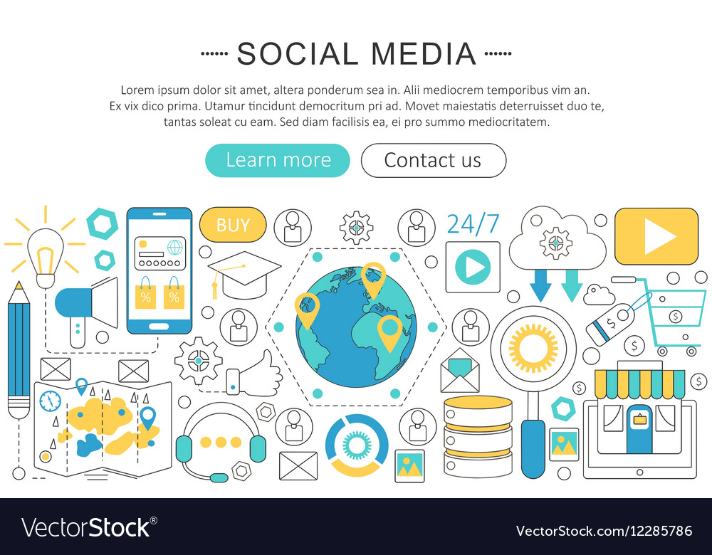 Modern line flat design Social media