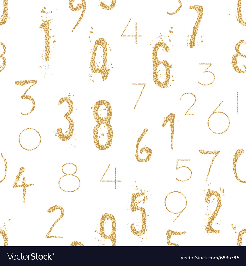 Numeral seamless pattern with glitter sparkle vector image