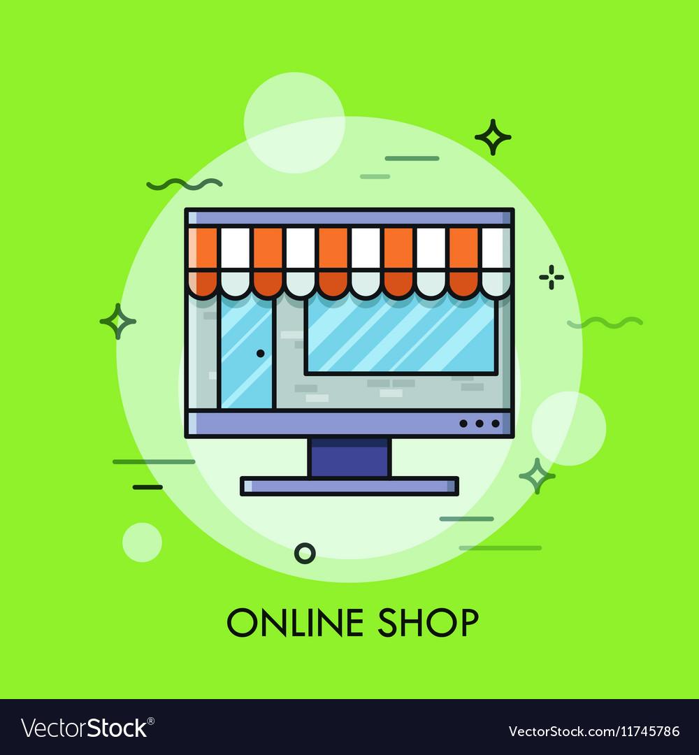 Thin line flat design of online store internet