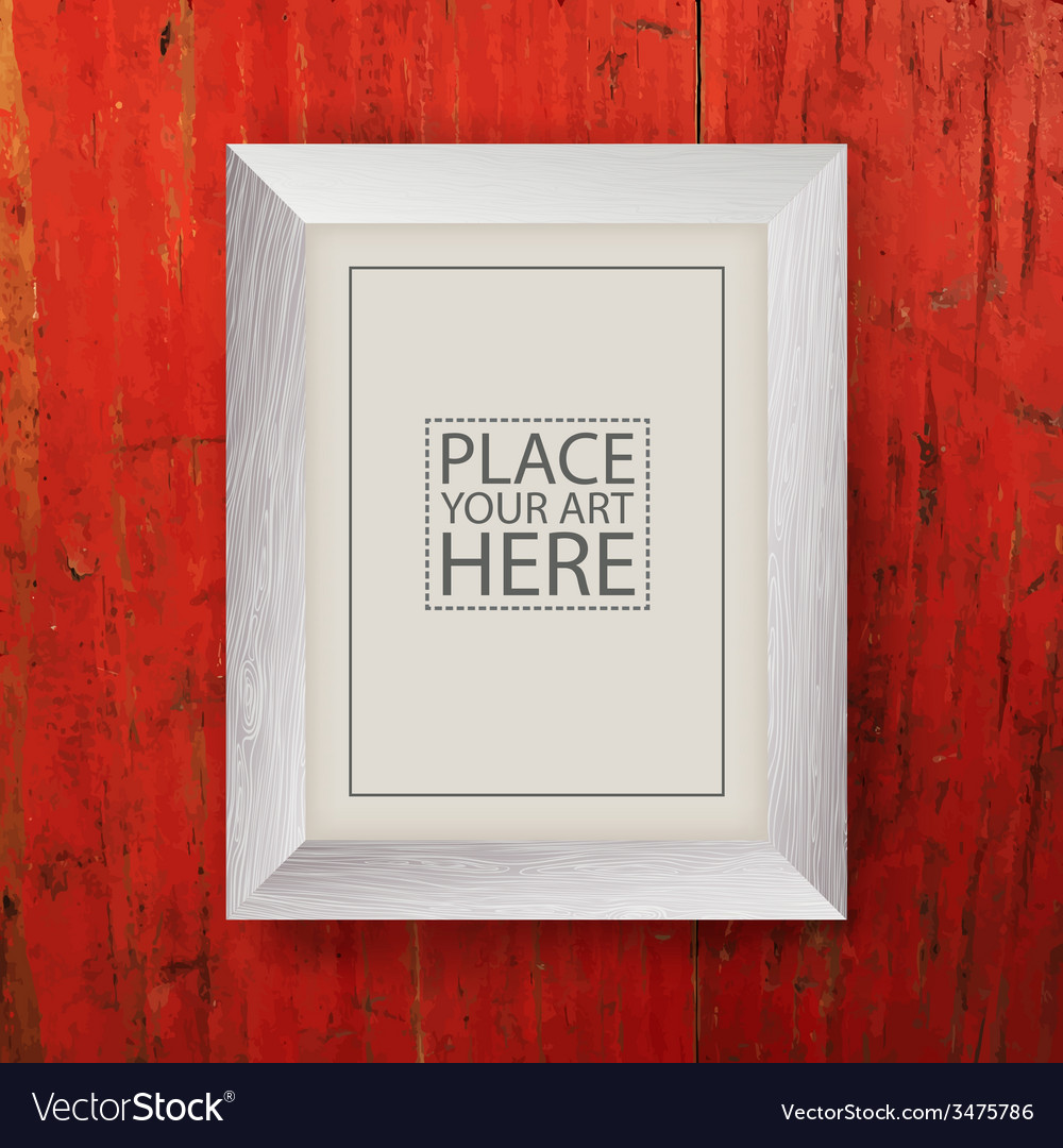 White wooden frame on red wooden wall Royalty Free Vector