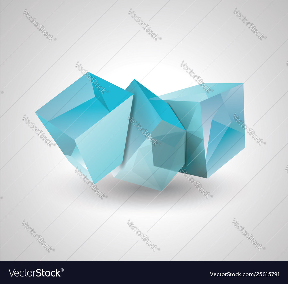 3d blue glass or ice cubes