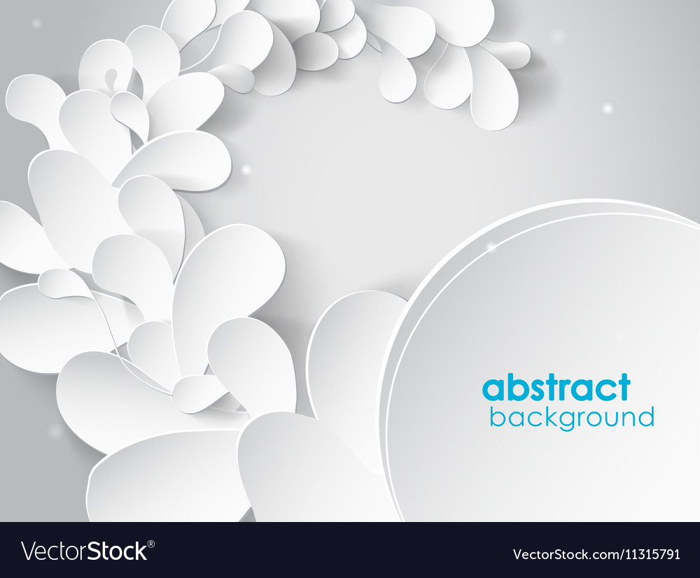 Abstract Background With White 3d Paper Flower Vector Image