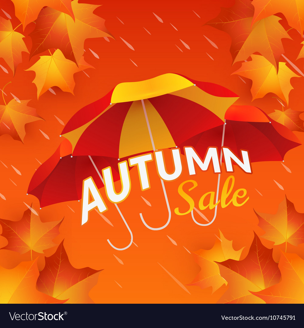 Autumn sale banner with umbrellas and maple leaves