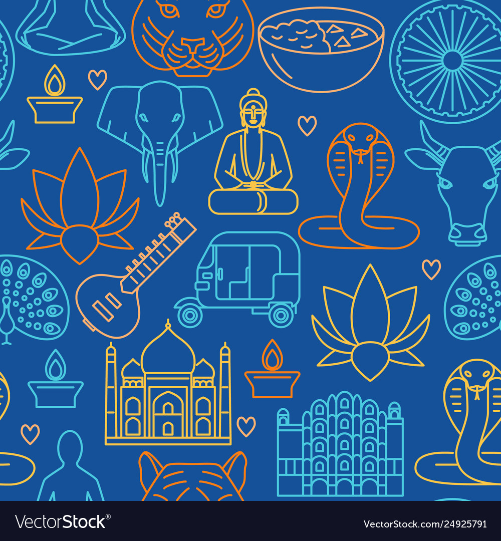 Bright india seamless pattern in line style