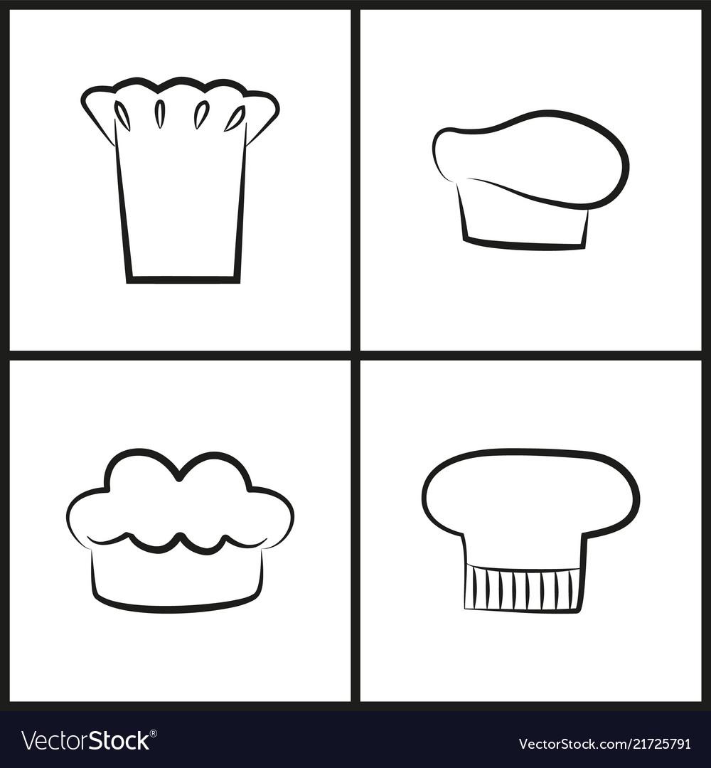 Chef hats monochrome minimalistic sketches set