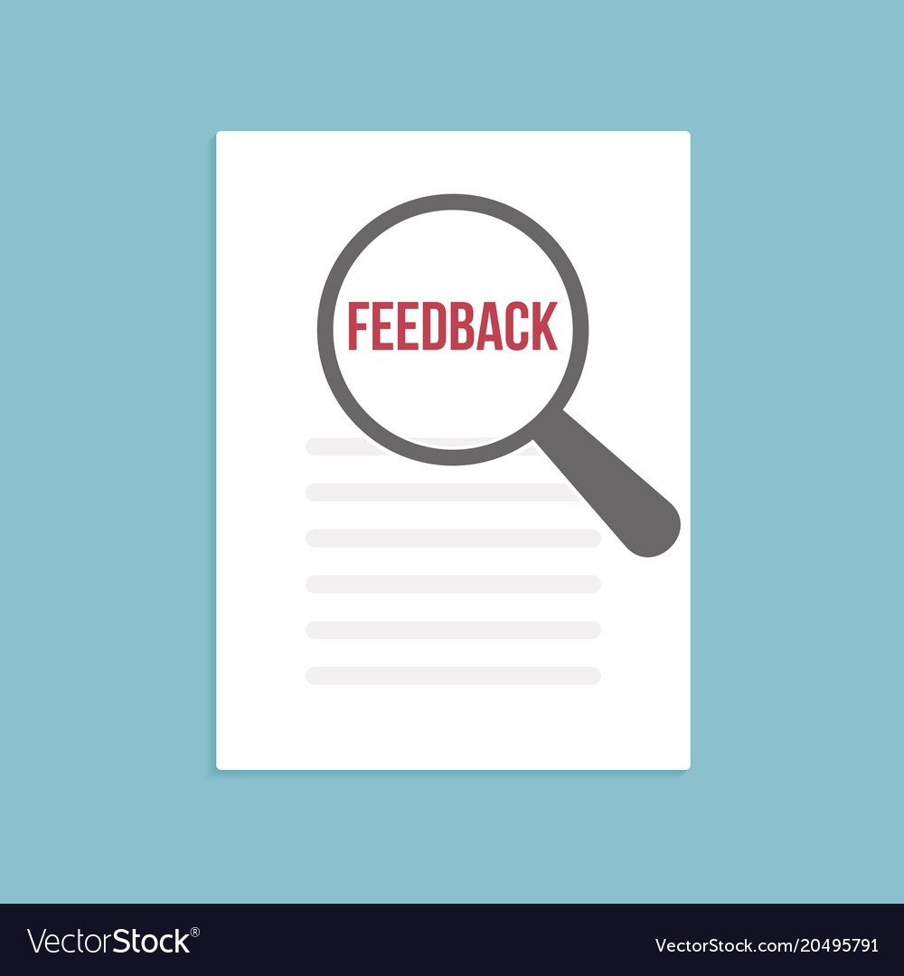 Feedback word magnifying glass Royalty Free Vector Image