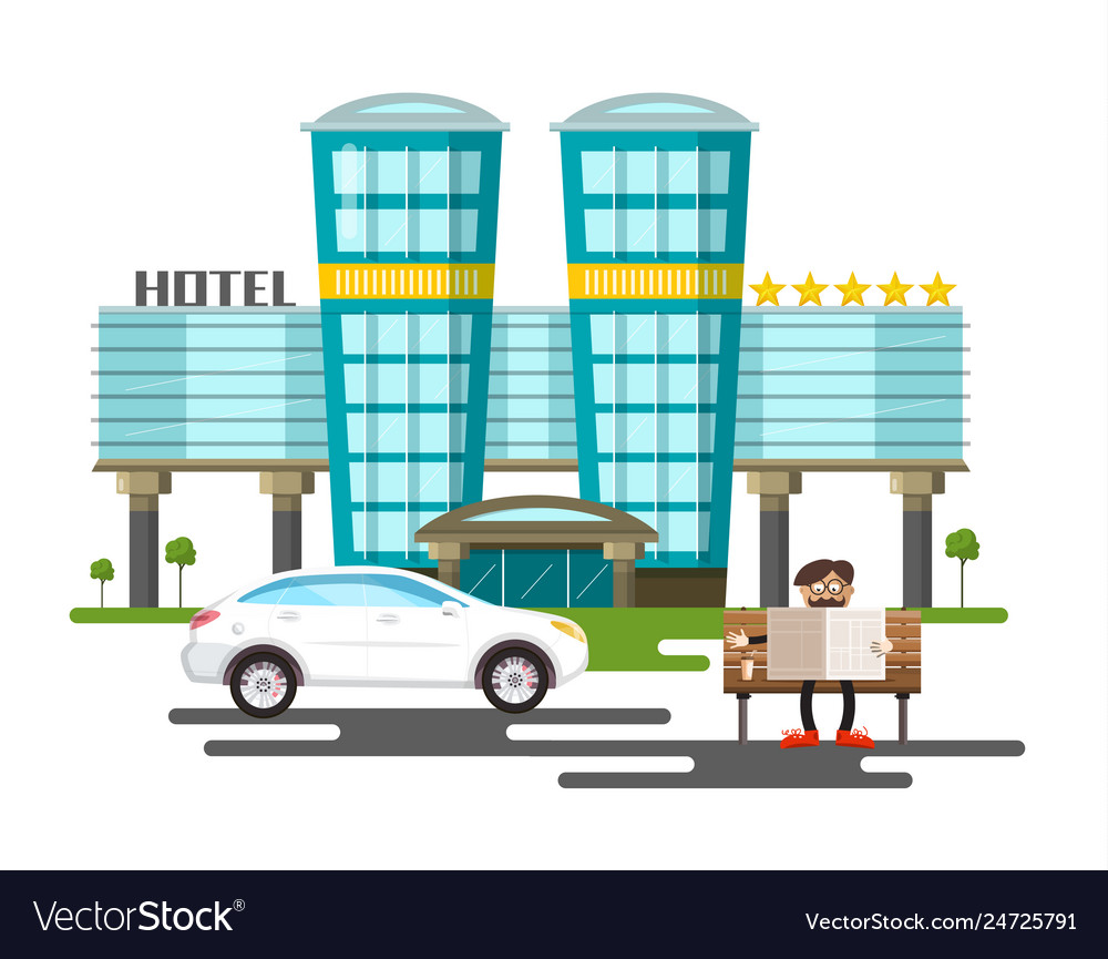Five stars modern hotel building with white car