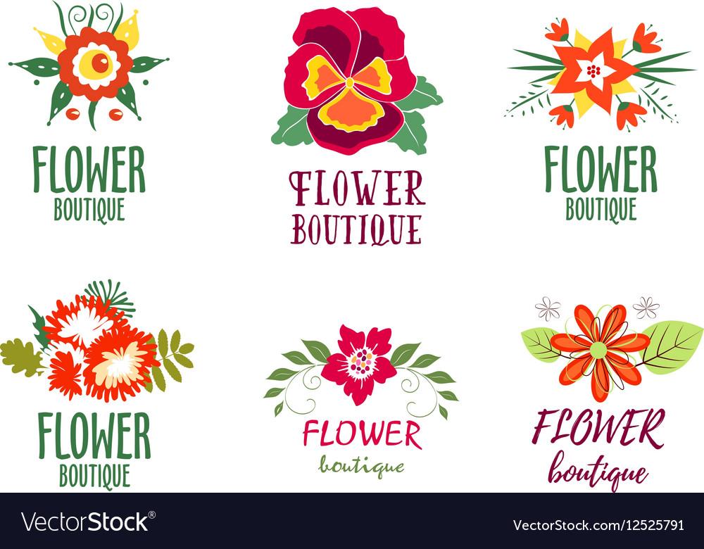 Flower logo Set - Isolated On white Background