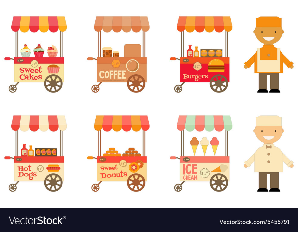 Food Carts with Sellers Set Isolated