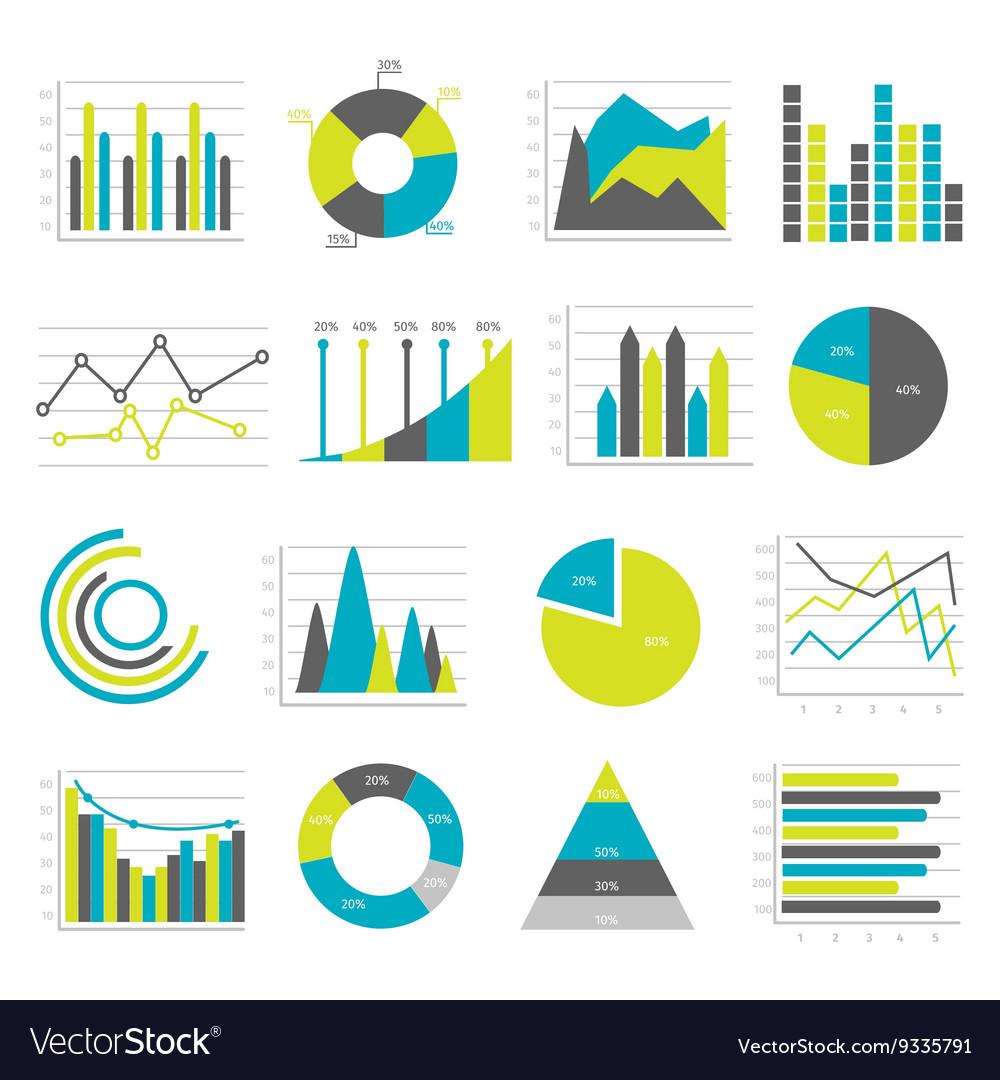 Graphs Flat Icons Set