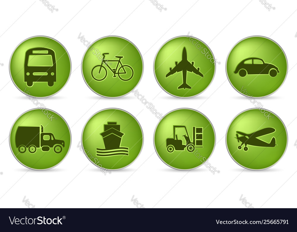 Green transport icons vector