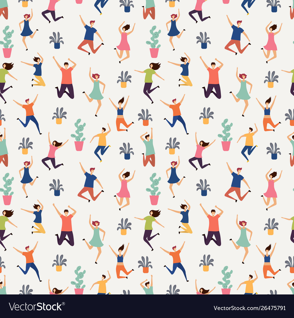 Jumping and flying people seamless pattern plants