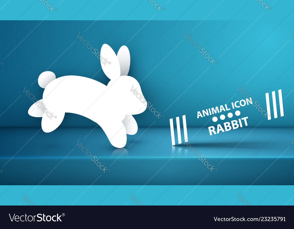 Paper rabbit icon on the blue studio