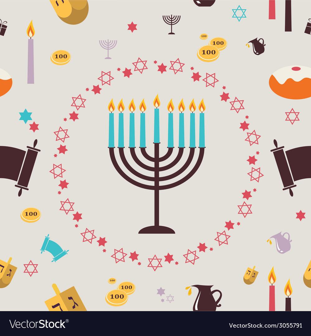 Pattern with Hanukkah symbols Greeting card