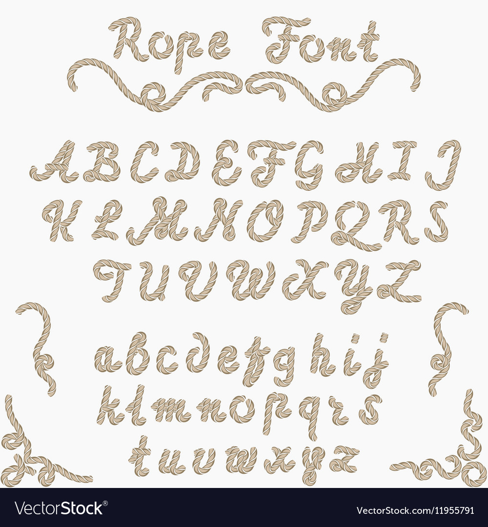 Rope font nautical hand written Letters