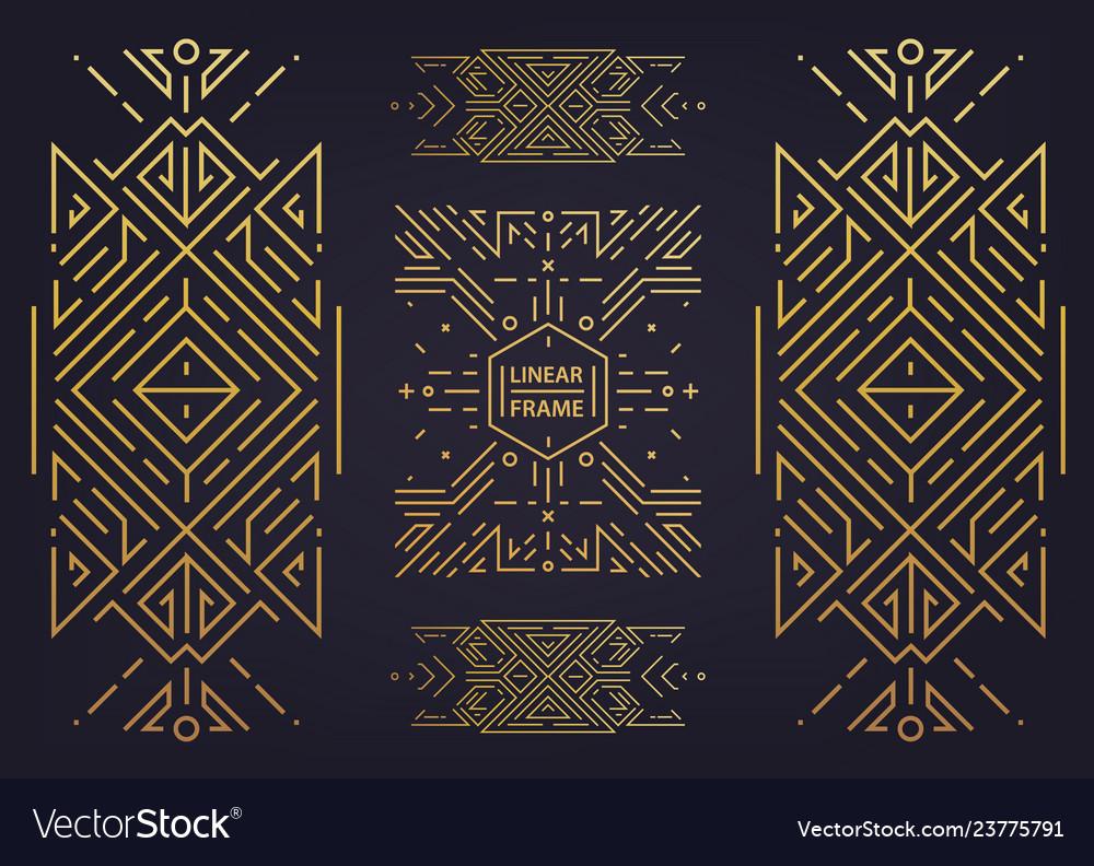Set of art deco golden borders frames