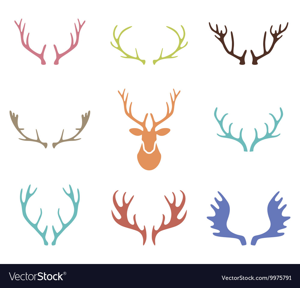 Set of hand drawn deer horns on the white