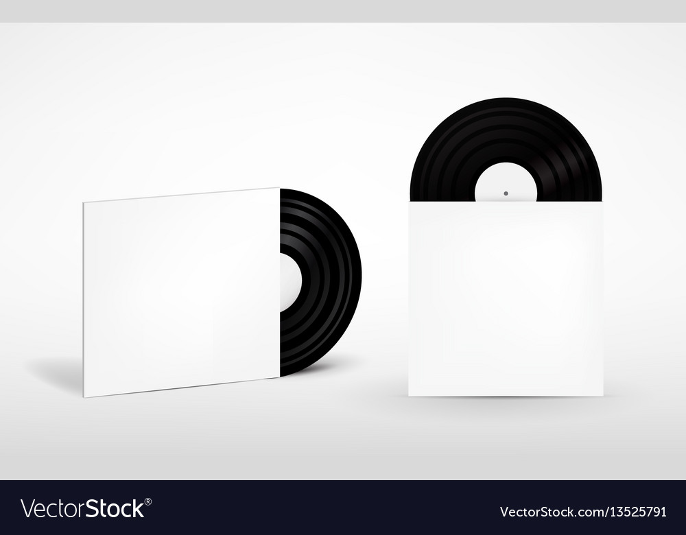Set of vinyl record and envelope for plate retro