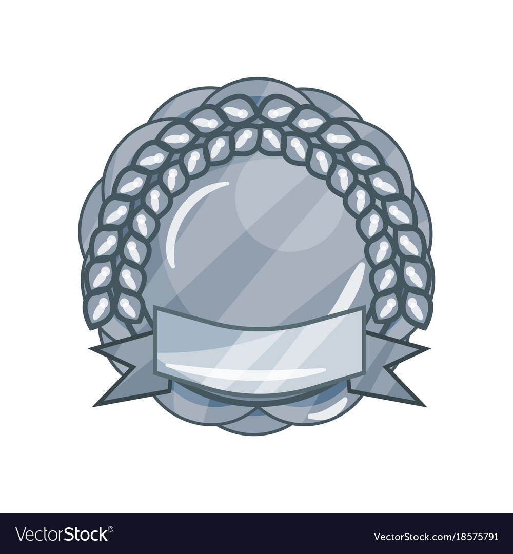 shiny silver blank military award medal or badge vector image