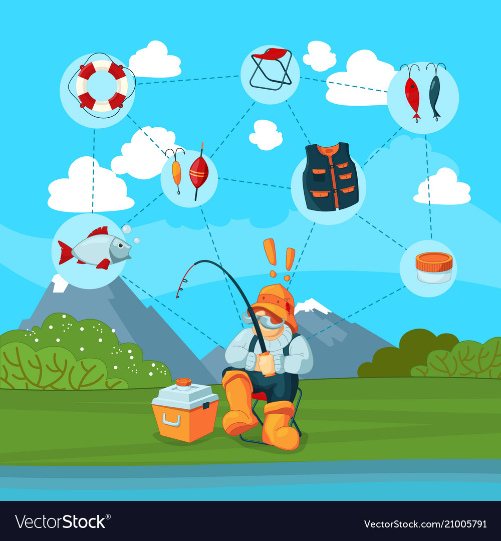 With fisherman and cartoon vector image