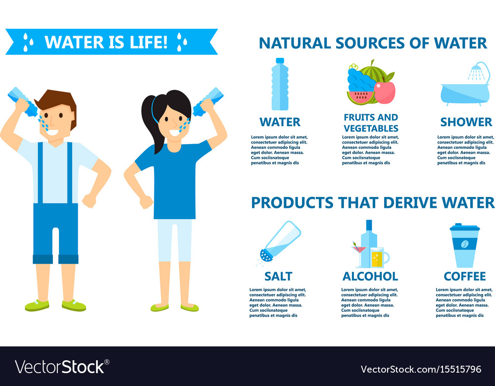 Body water drink infographics health people diet vector image