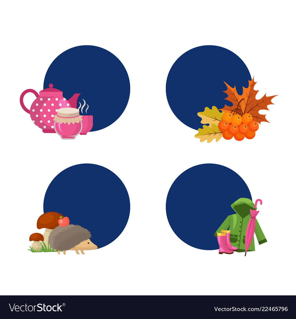 Cartoon autumn elements and leaves stickers