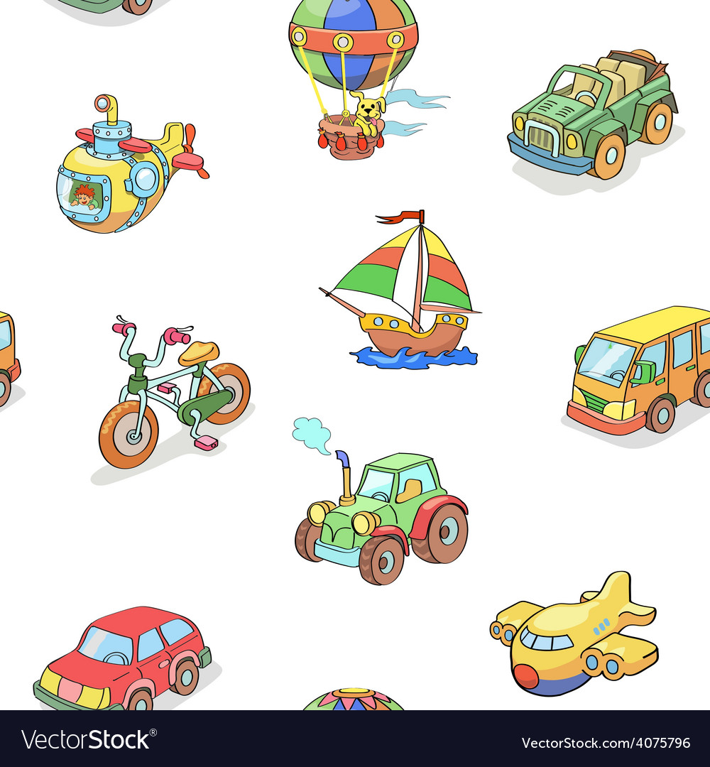 Cartoon collection of Transportation seamless