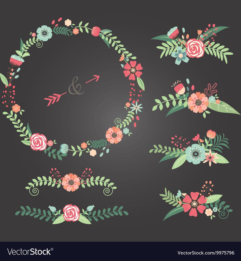 Chalkboard Wedding Floral vector image