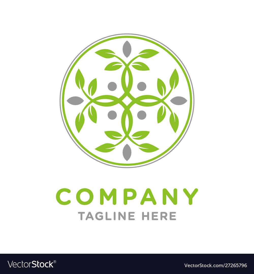 Circular leaf logo design