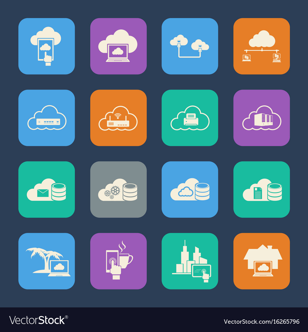 Cloud computing icons set flat design for website