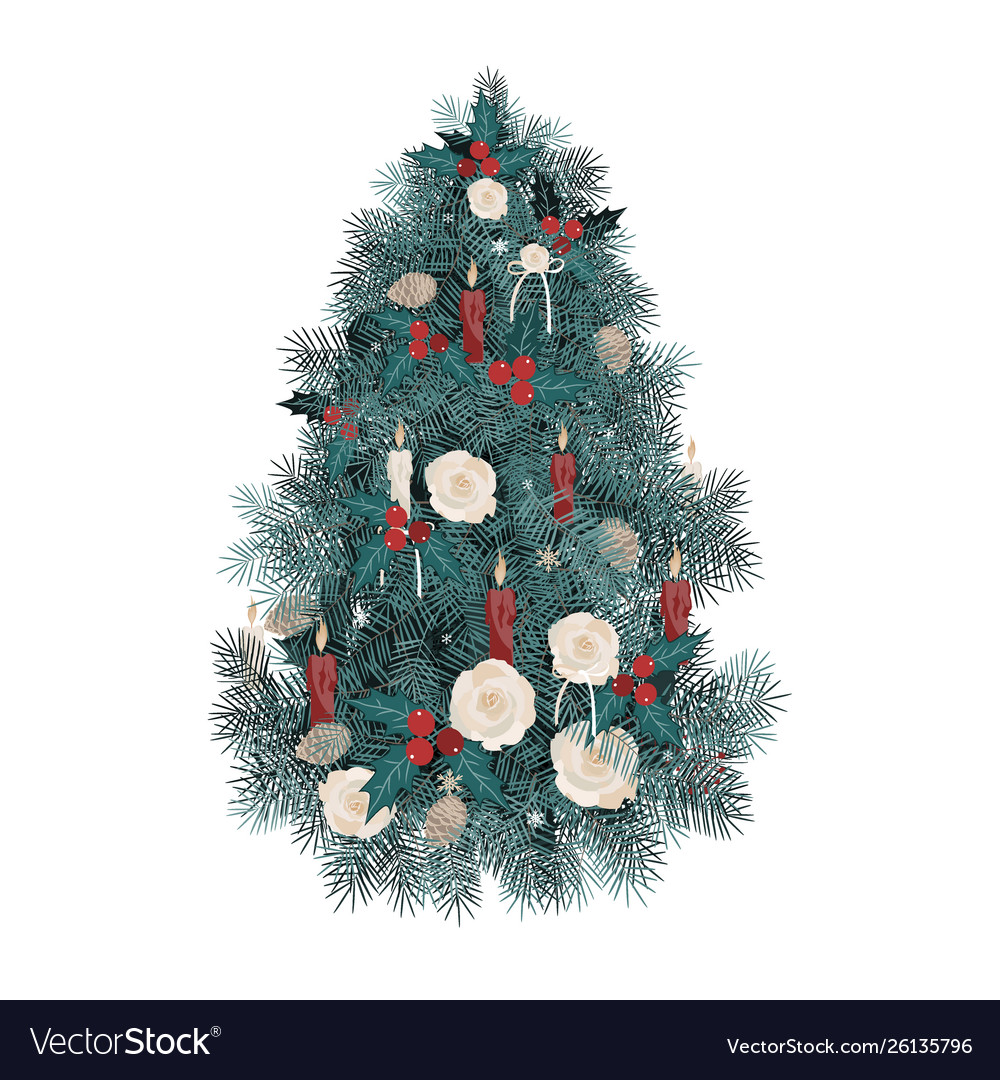 Decorated christmas tree with