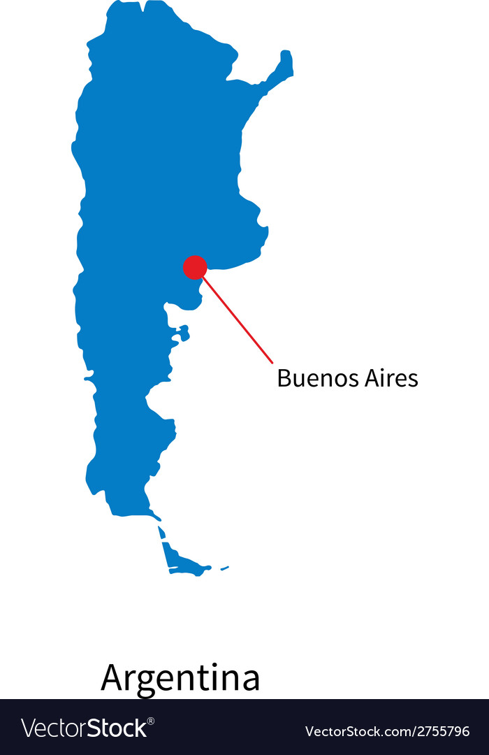 Detailed map of Argentina and capital city Buenos Vector Image